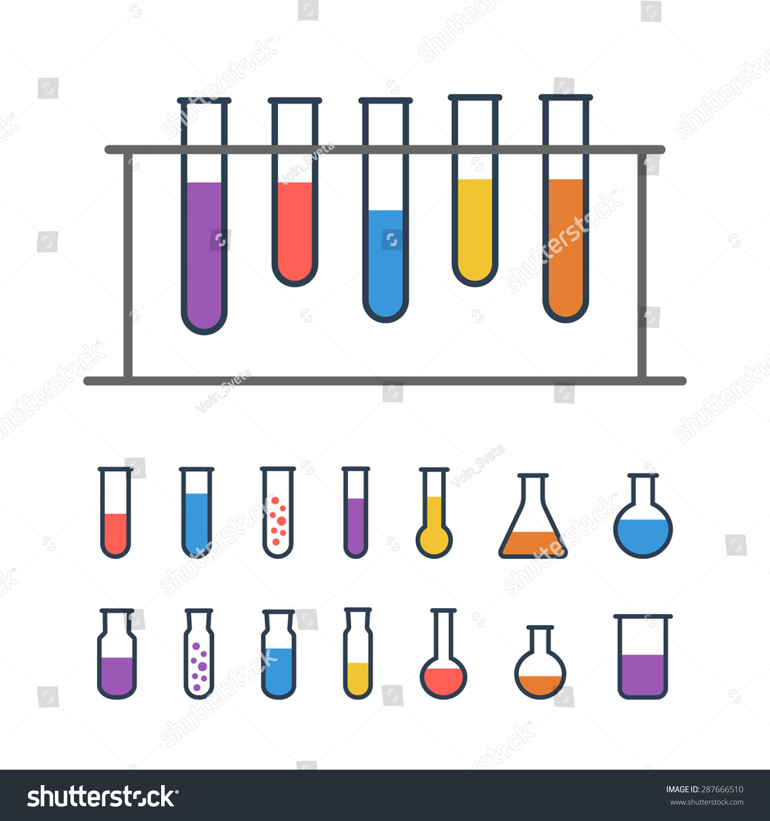 Chemical Test Tube Rack With Flasks Chemical Lab Equipment Isolated On White Experiment Flasks
