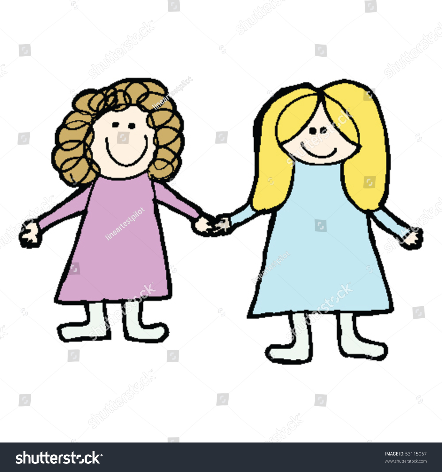 Childs Drawing Two Best Friends Stock Vector