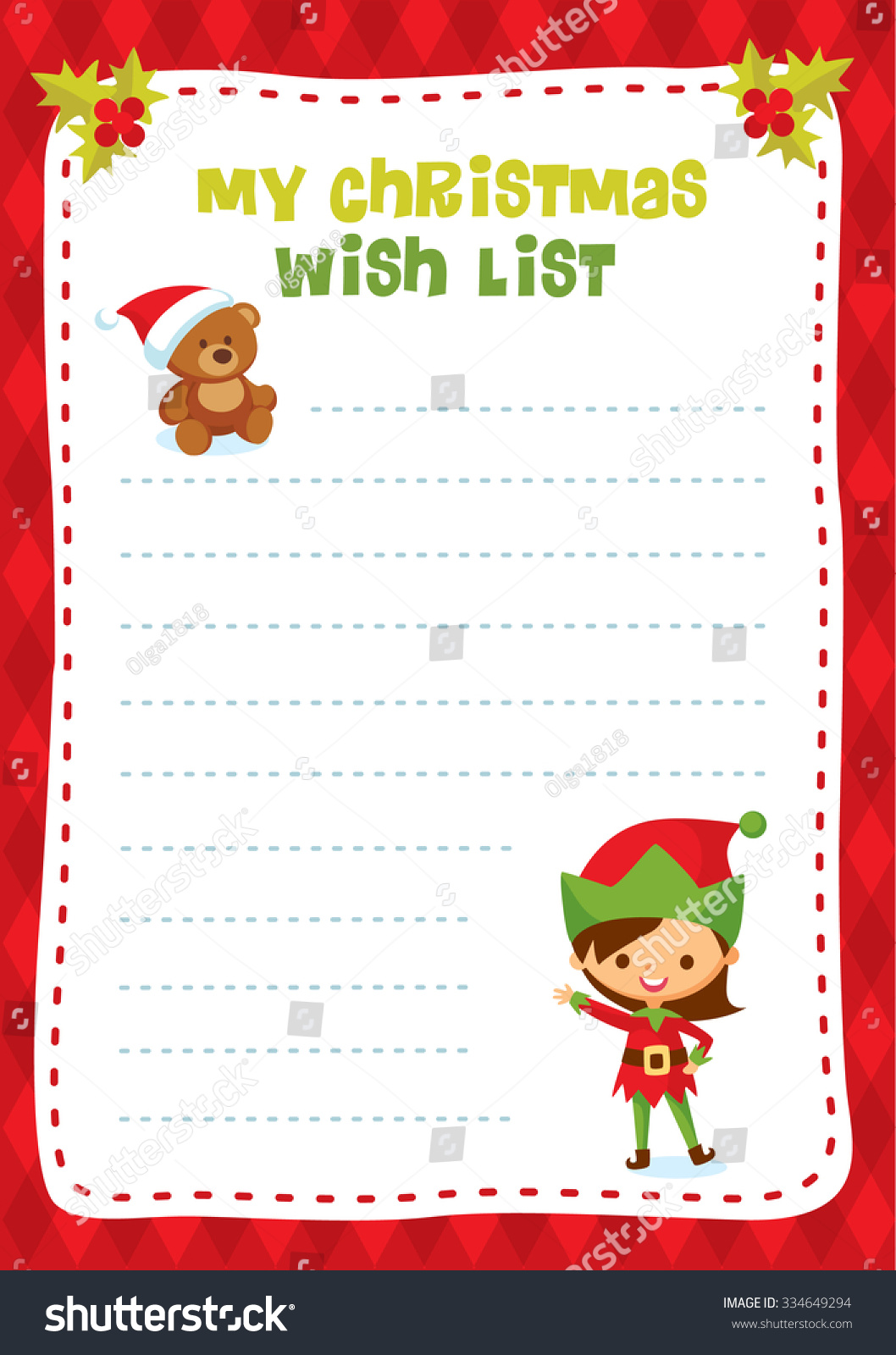 Children Design Christmas Wish List Stock Vector Royalty Free 334649294