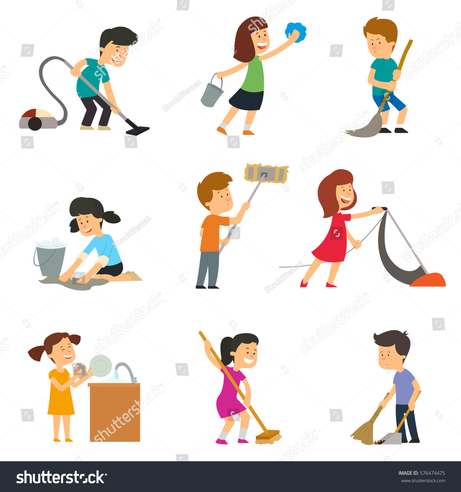 Children Help Their Parents Household Chores Stock Vector