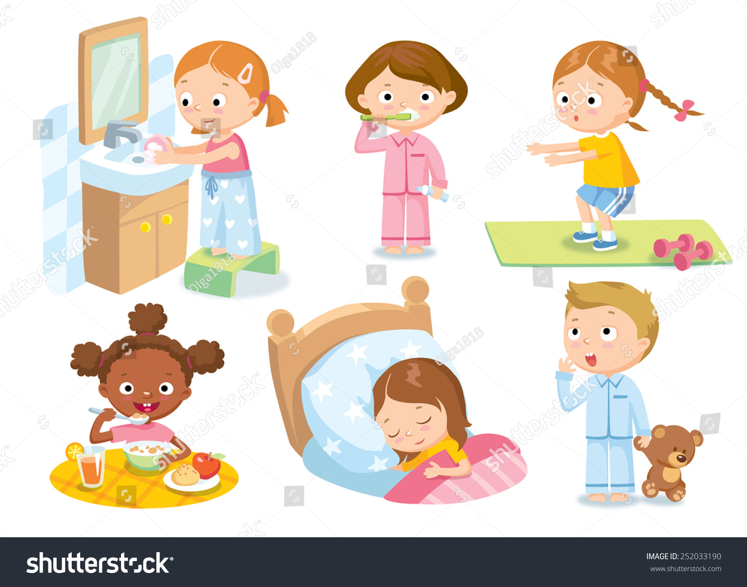 Childrens Daily Routine Stock Vector