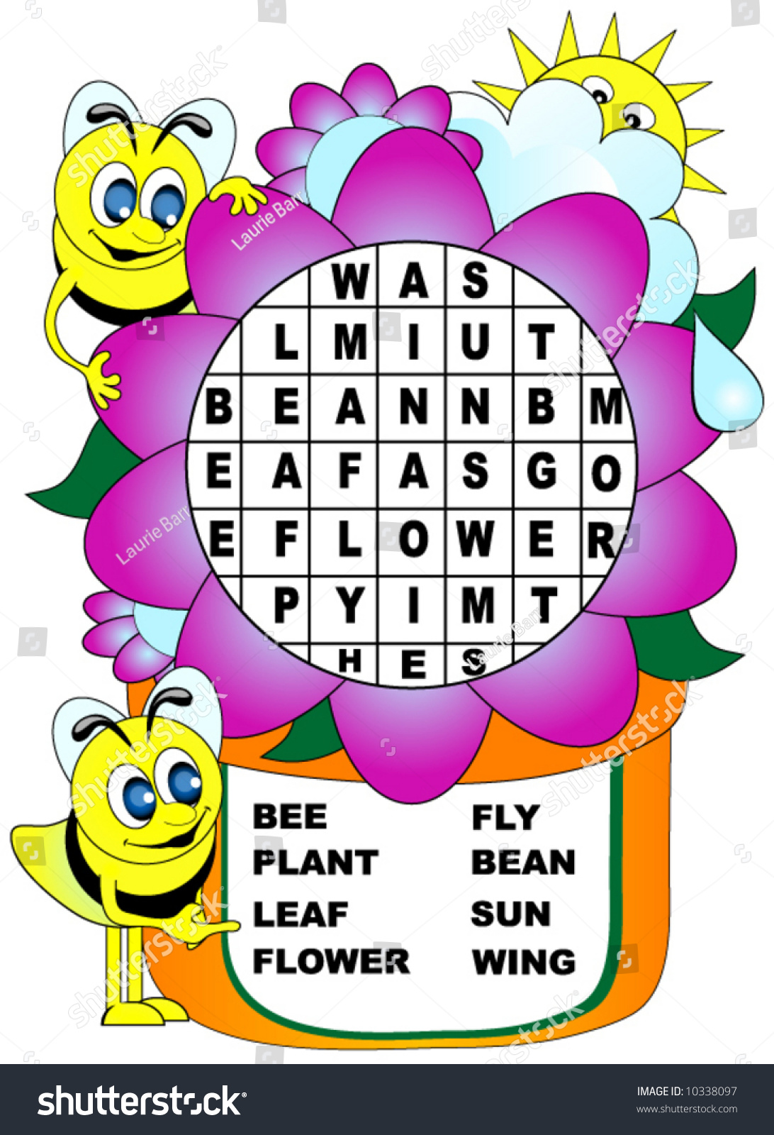 Childrens Word Search Bees Flower Theme Stock Vector