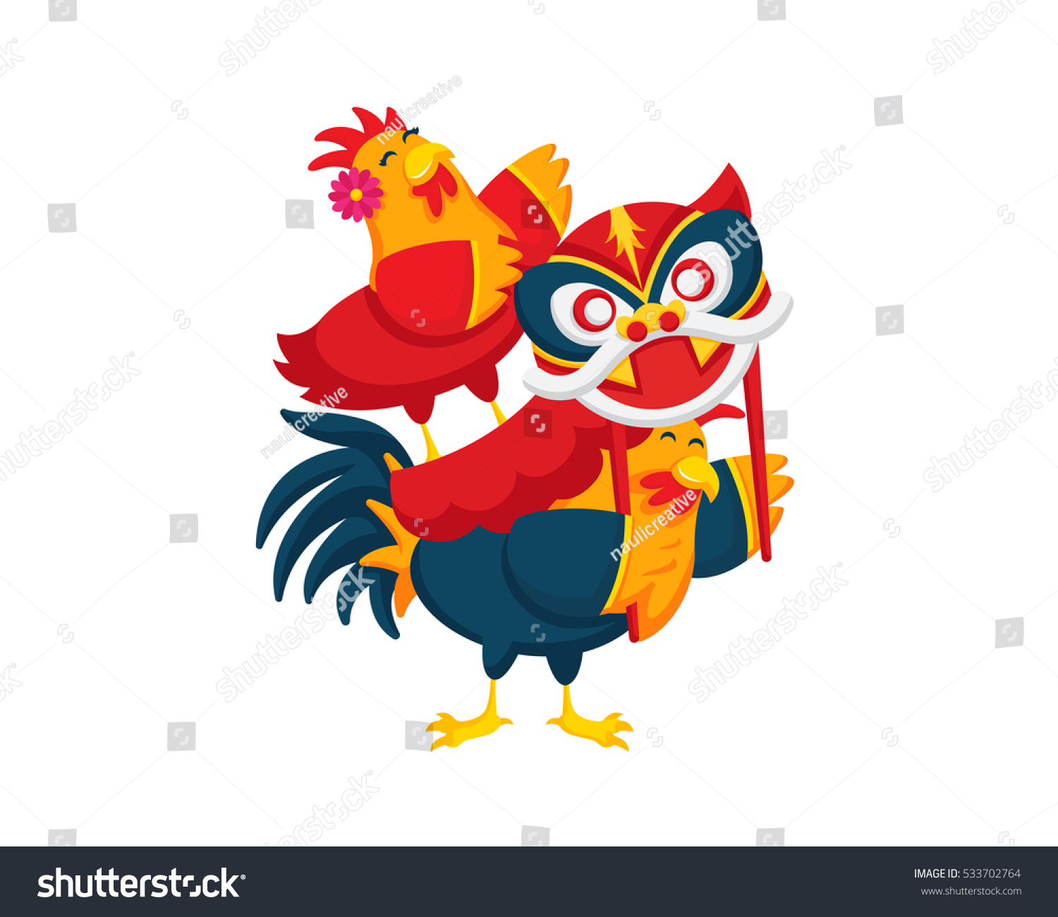 Chinese New Year Rooster Couple Stock Vector