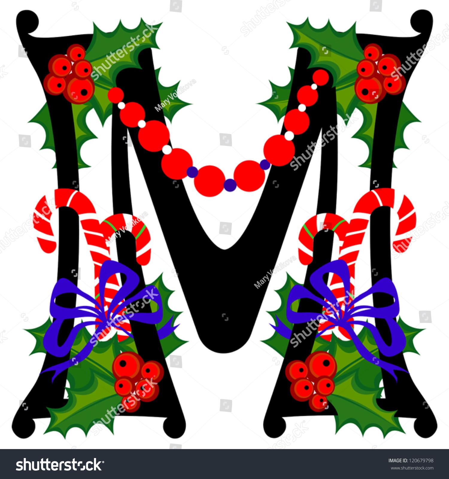 Christmas Alphabet Letter M Vector Version Stock Vector