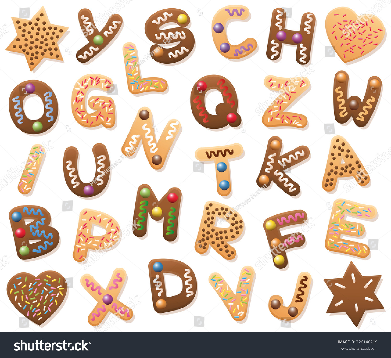 Christmas Cookies Abc Loosely Arranged Find Stock Vector