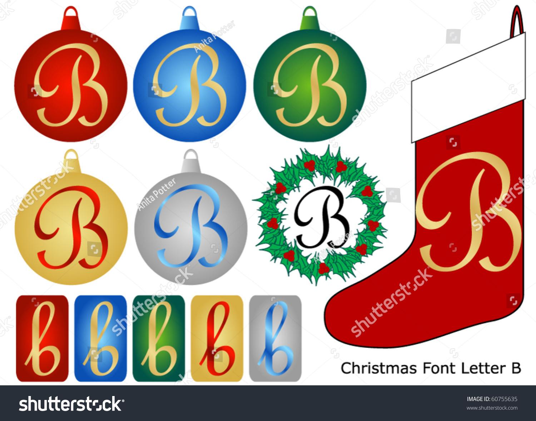 Christmas Font Letter B Stock Vector