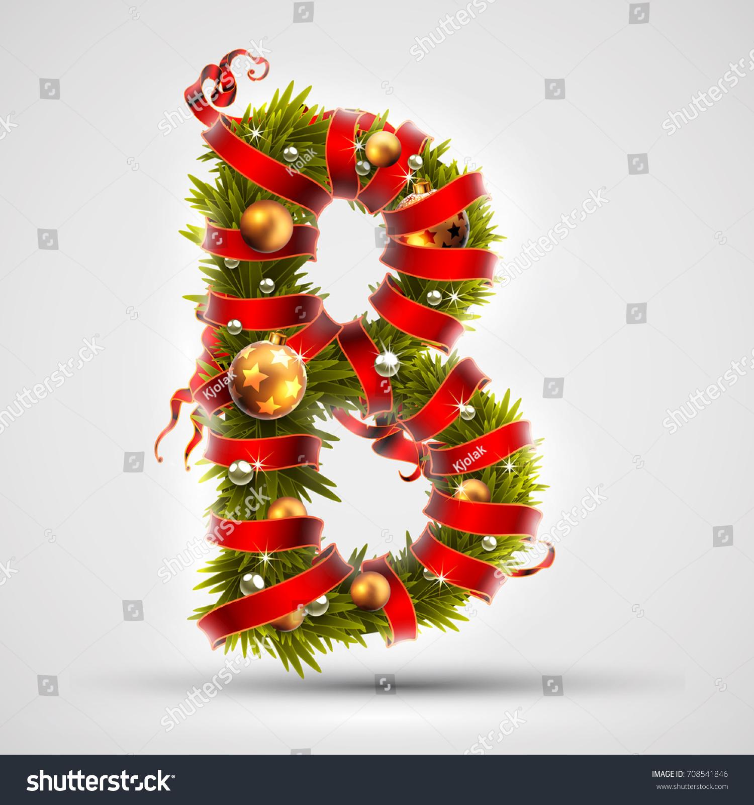 Christmas Font Letter B Christmas Tree Stock Vector