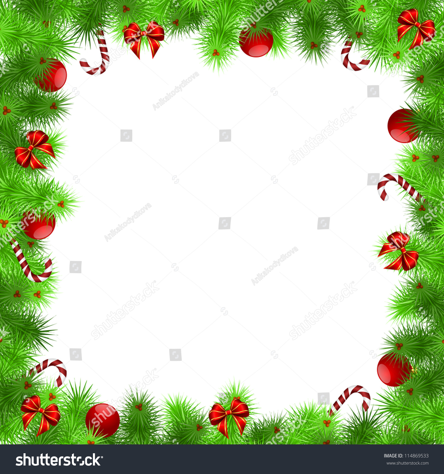 Christmas Frame Green Needles With Red Balls And Ribbons