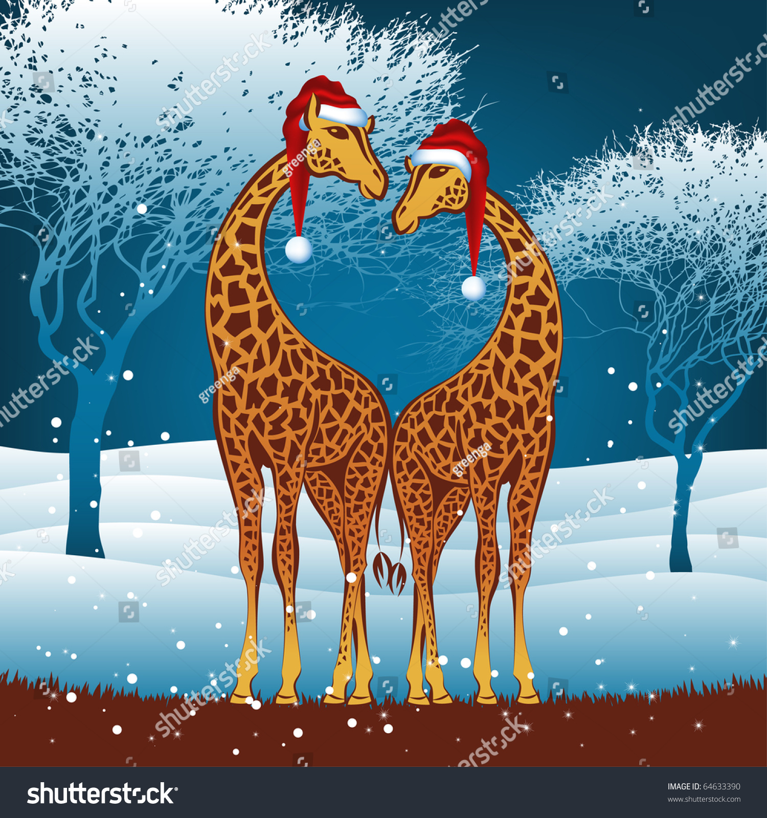 Christmas Giraffes Card Vector Eps8 64633390 Shutterstock