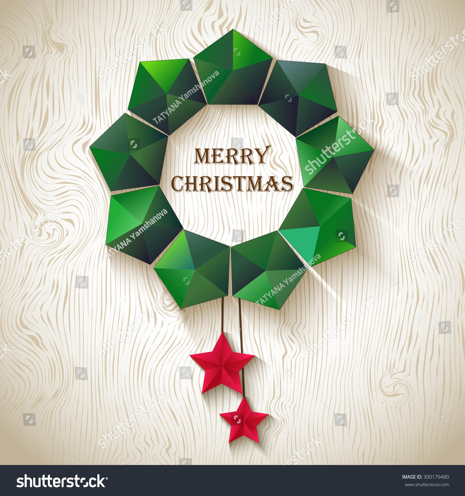 Christmas Wreath Geometric Shapes Stock Vector