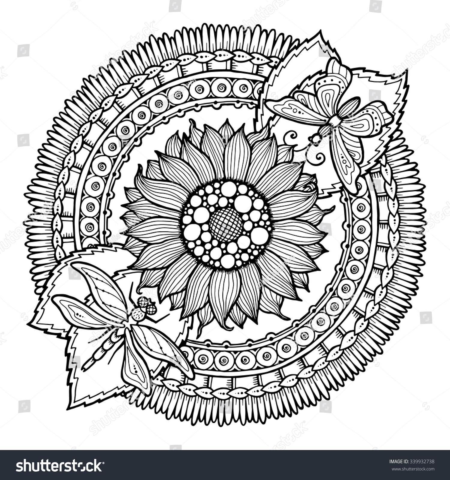 Circle Summer Doodle Flower Ornament Hand Drawn Art