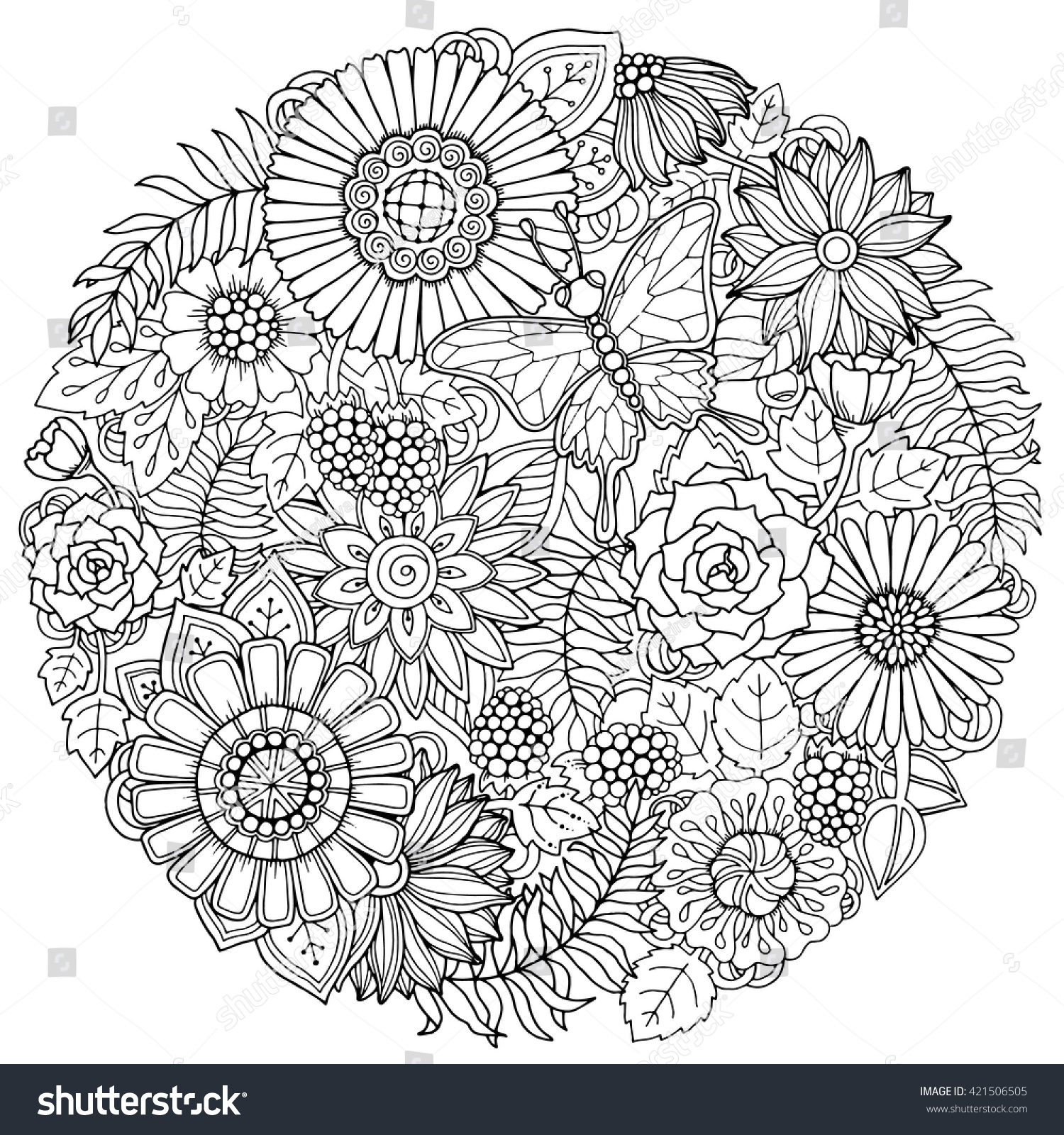 Circle Summer Doodle Flower Ornament Butterfly Stock