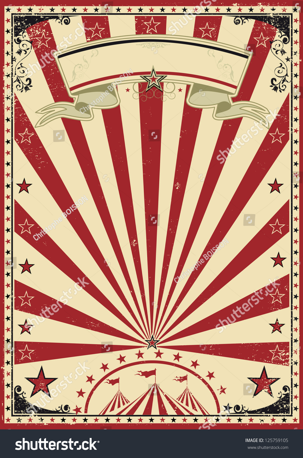 Circus Red Vintage Circus Vintage Poster Stock Vector