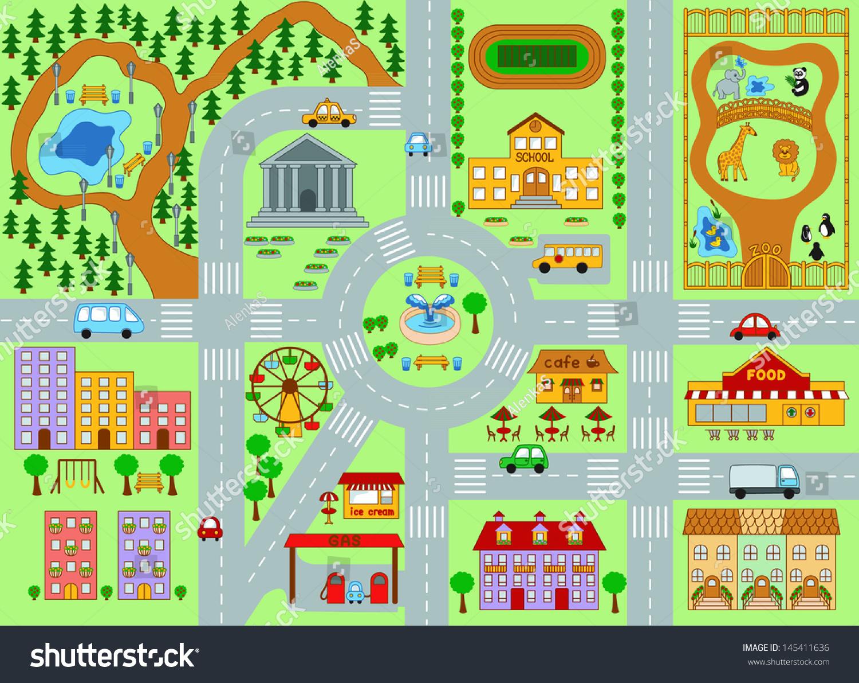 City Map Kids Stock Vector