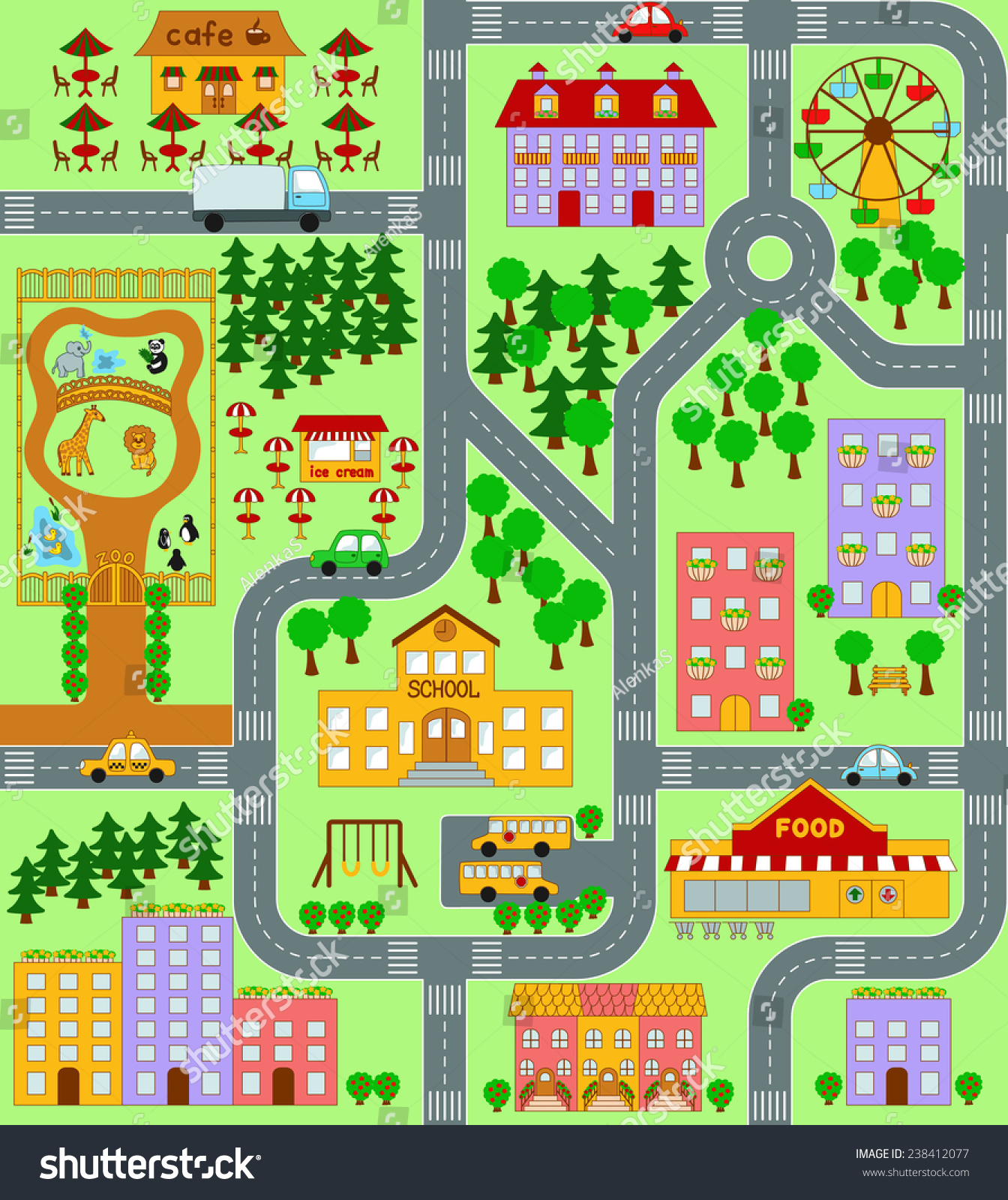 City Map Kids Seamless Vector Pattern Stock Vector