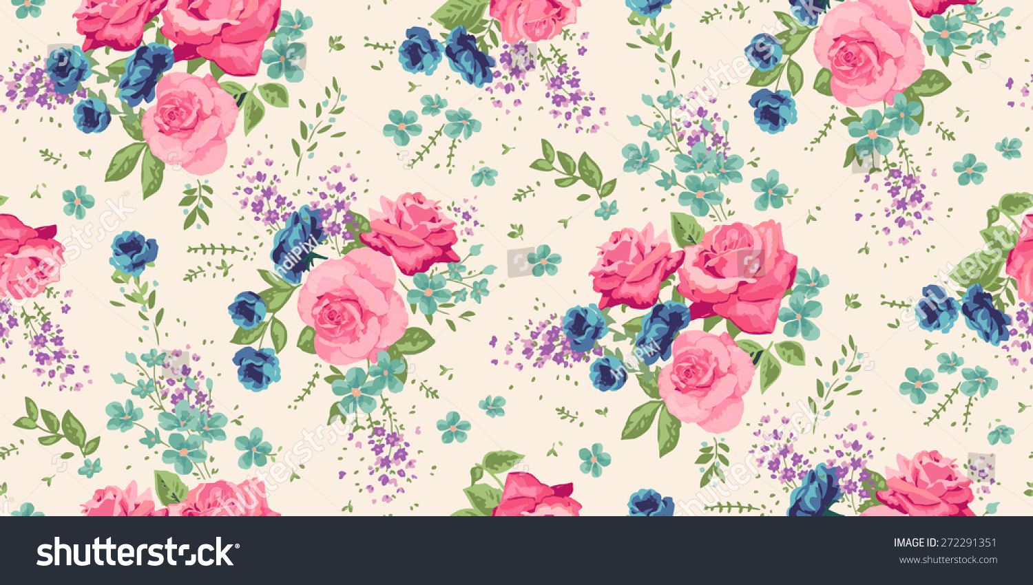 Classic Wallpaper Seamless Vintage Flower Pattern Stock Vector Royalty Free 272291351