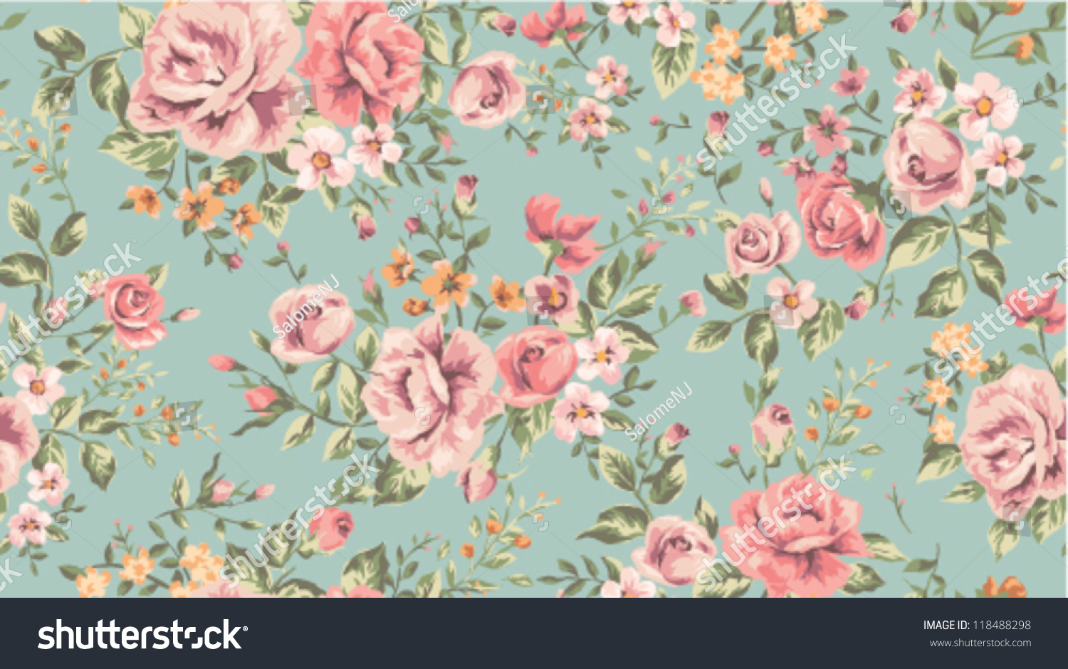 Classic Wallpaper Seamless Vintage Flower Pattern Stock Vector Royalty Free 118488298