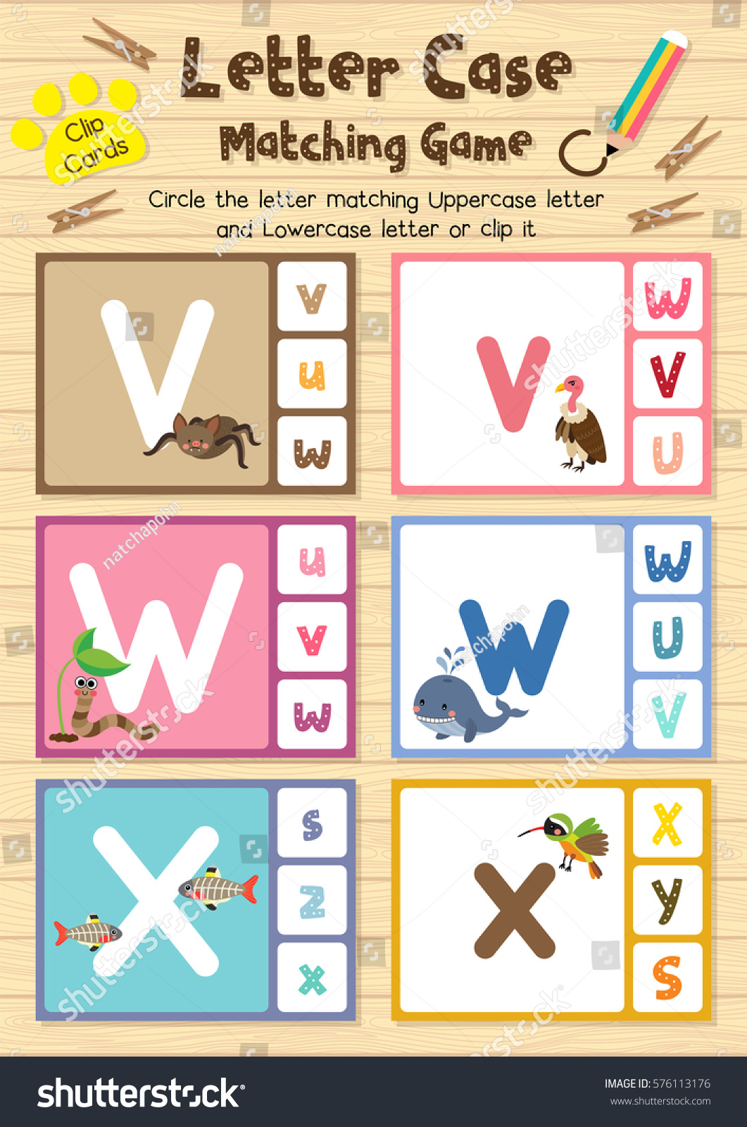 Clip Cards Matching Game Letter Case