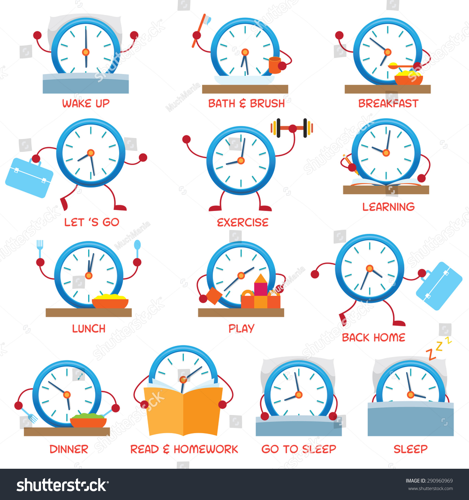Clock Character Daily Routine Timetable Time Stock Vector