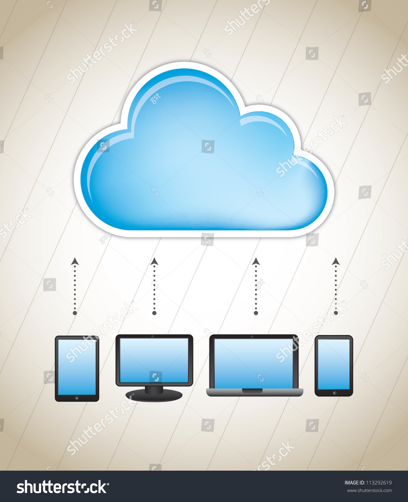 Cloud Storage With Different Communication Devices Stock