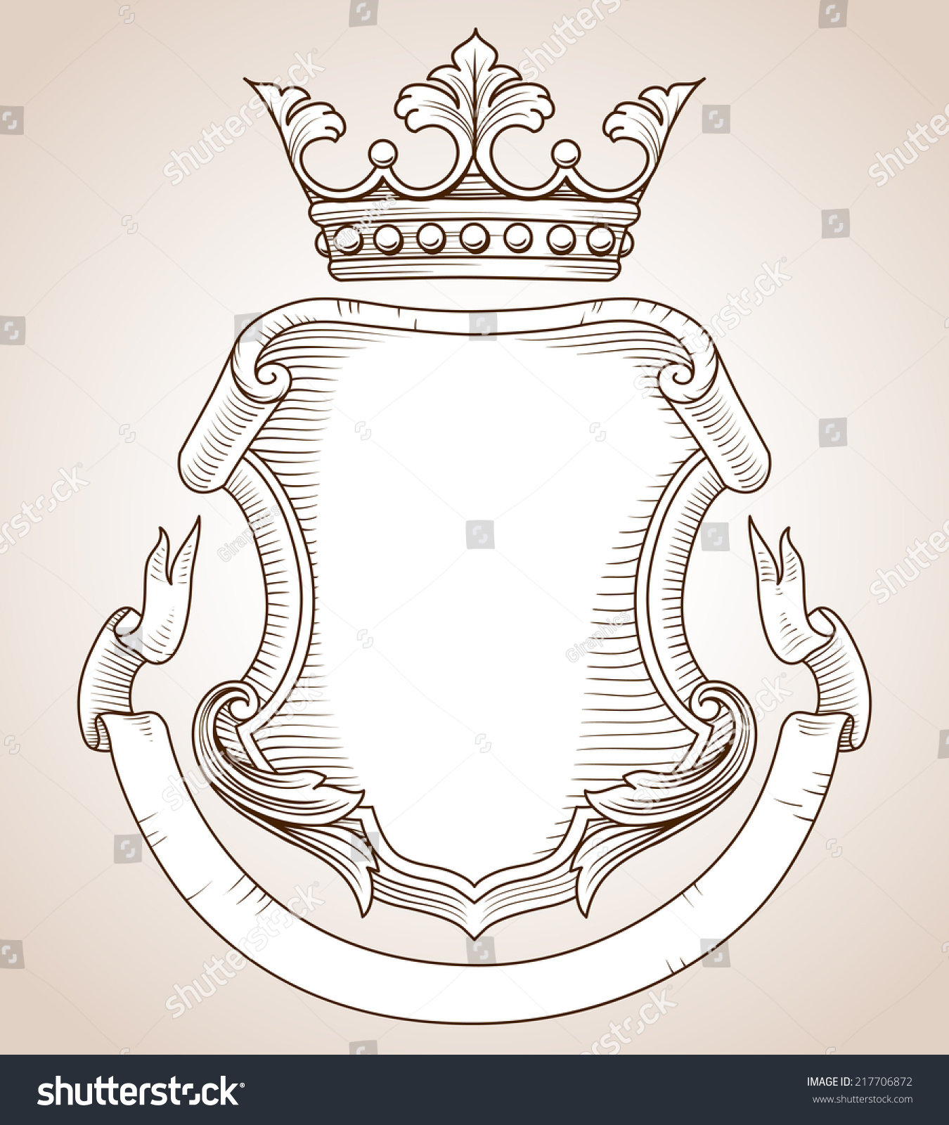Coat Arms Handdrawn Highly Detailed Coat Stock Vector