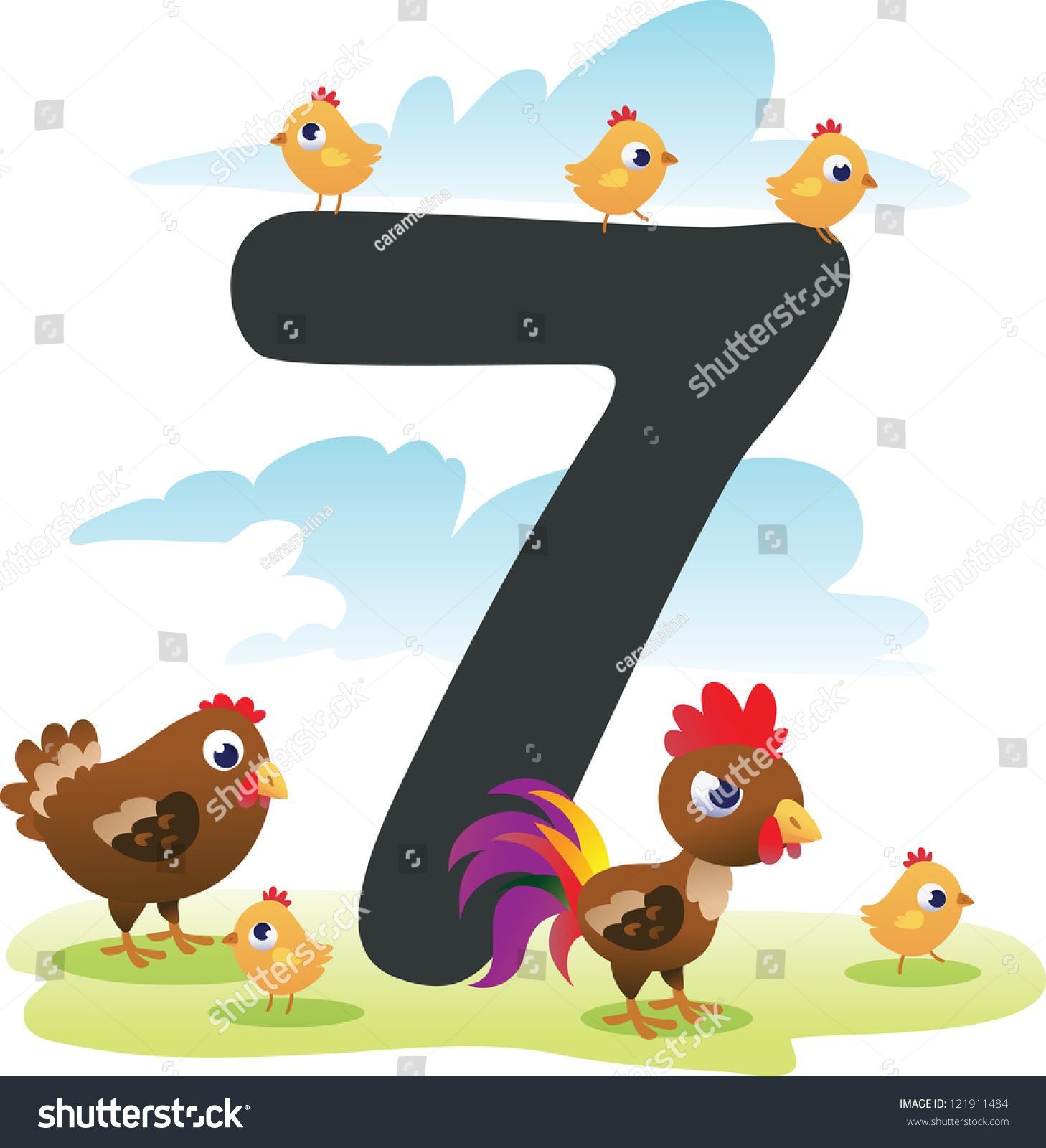Collection Number Kids Farm Animals Number Stock Vector