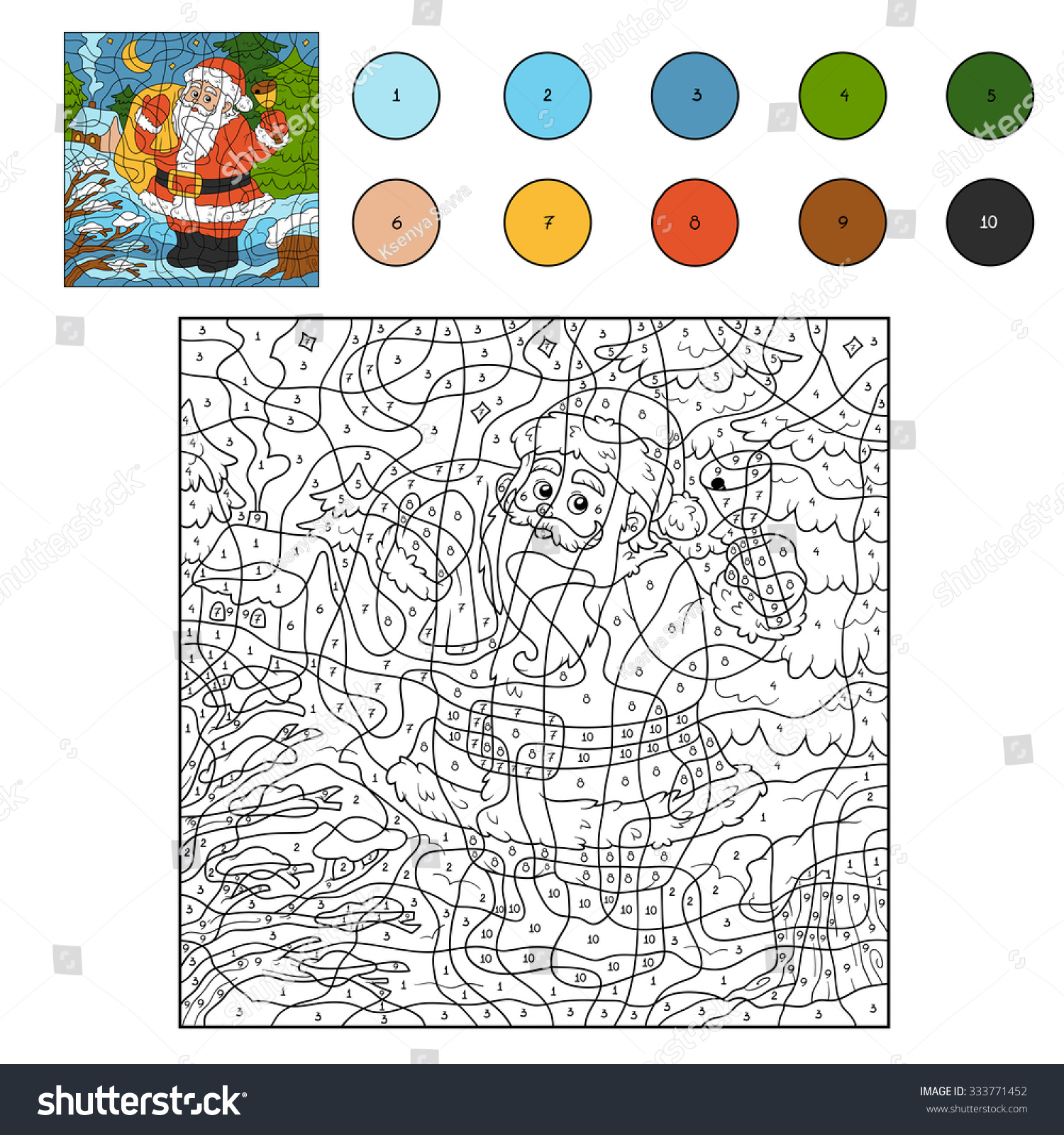 Color By Number Game Children Santa Stock Vector