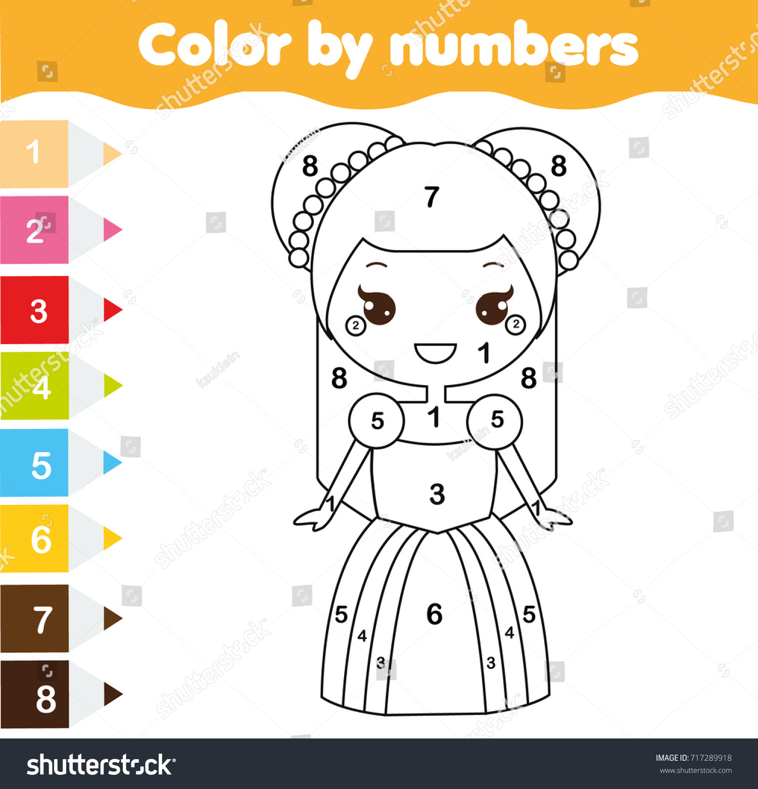 Color By Numbers Educational Children Game Stock Vector