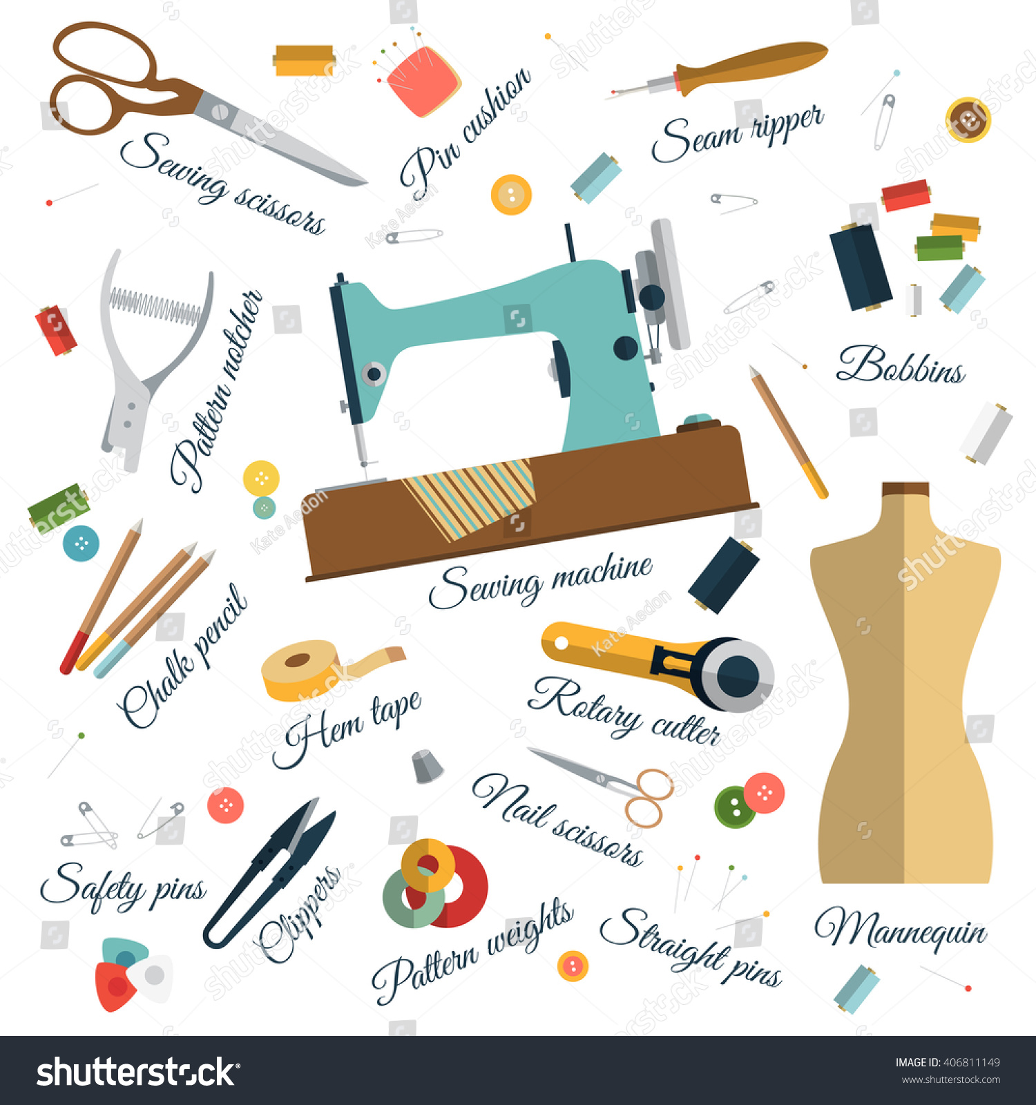 Color Set Objects Sewing Names Handicraft Stock Vector