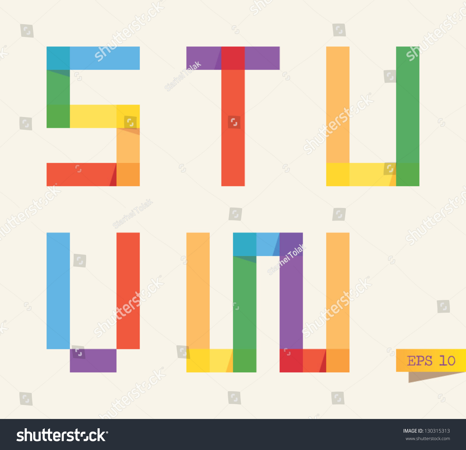 Colored Sticky Notes Alphabet Rainbow Colors Stock Vector