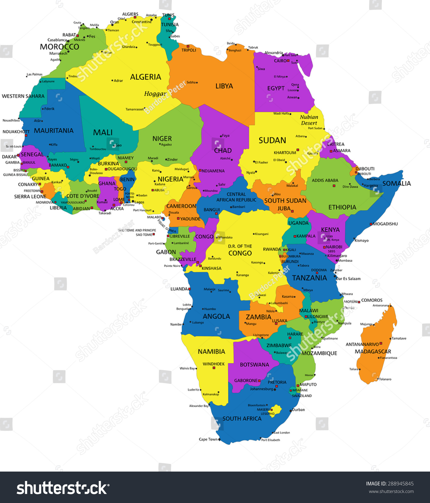 Colorful Africa Political Map Clearly Labeled Stock Vektor