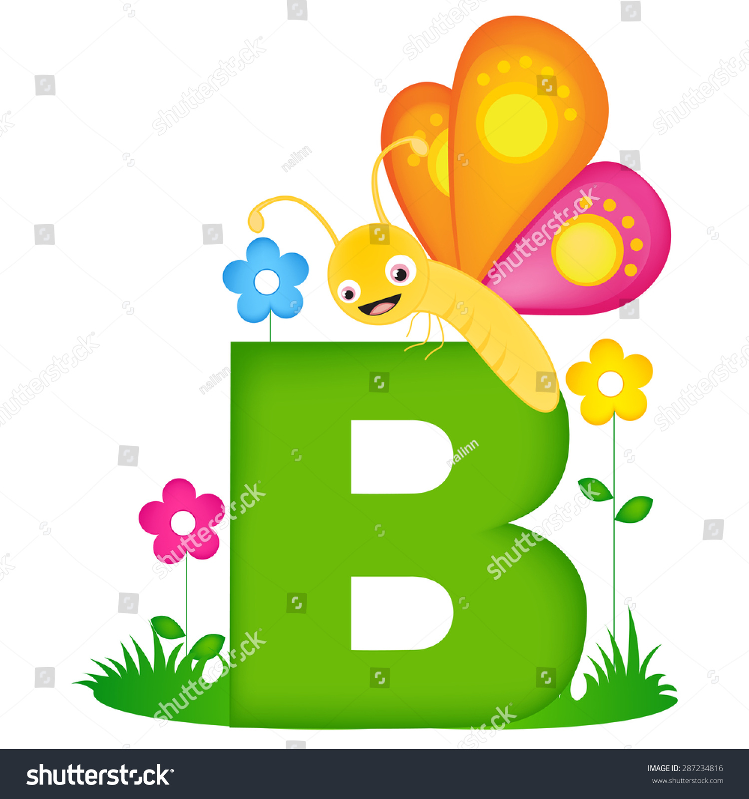Colorful Animal Alphabet Letter B Cute Stock Vector
