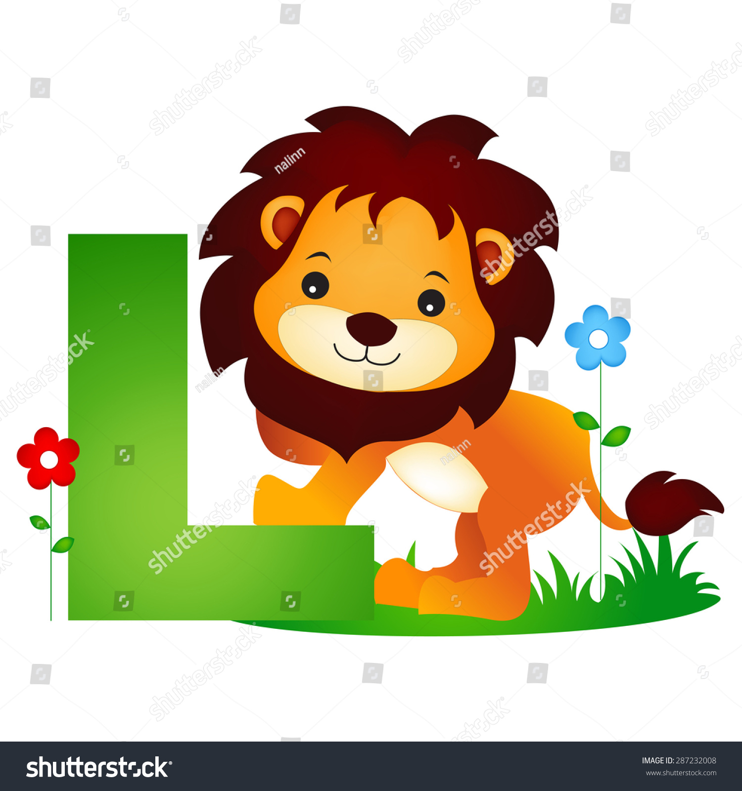 Colorful Animal Alphabet Letter L Cute Stock Vector