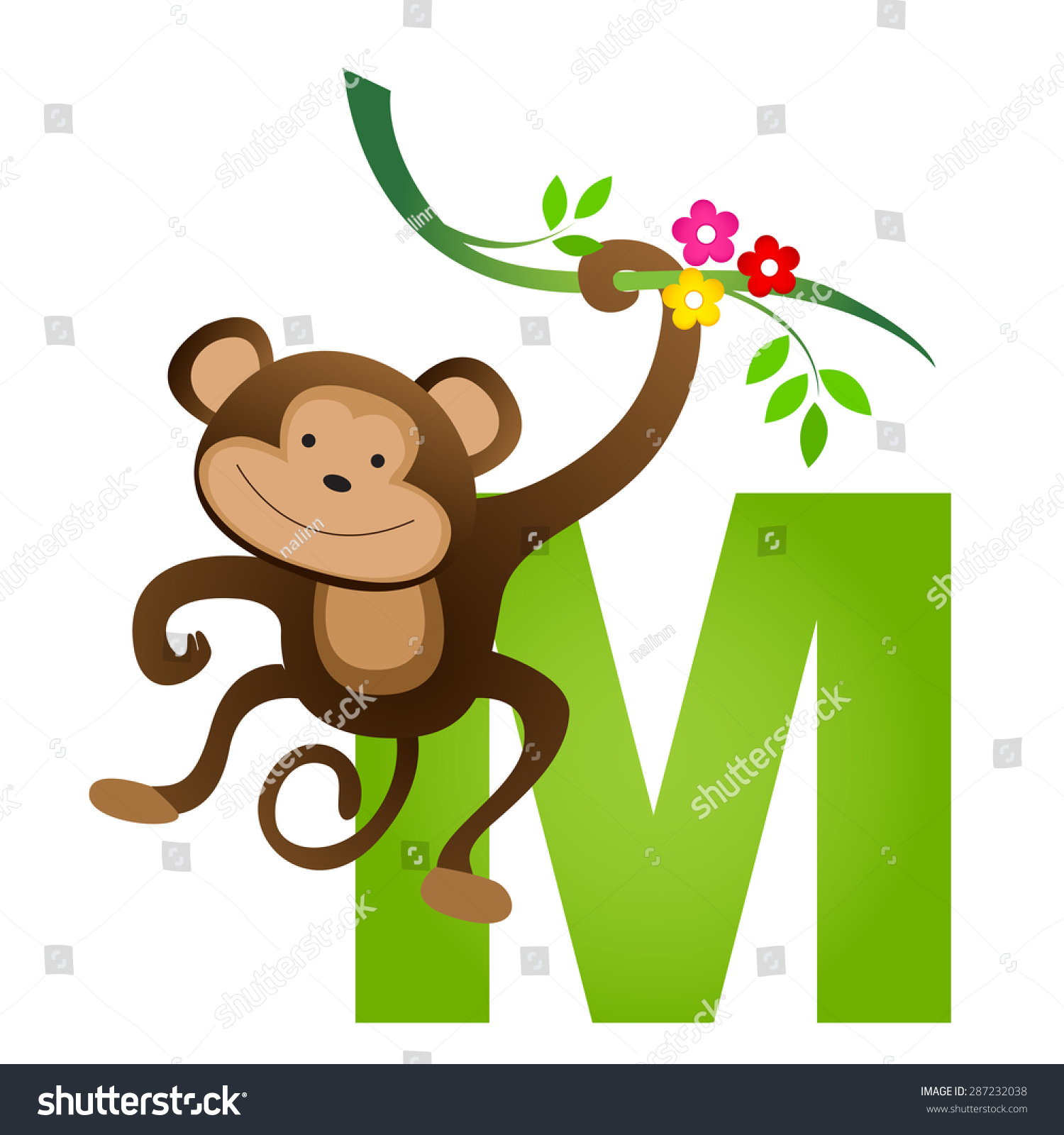 Colorful Animal Alphabet Letter M Cute Stock Vector