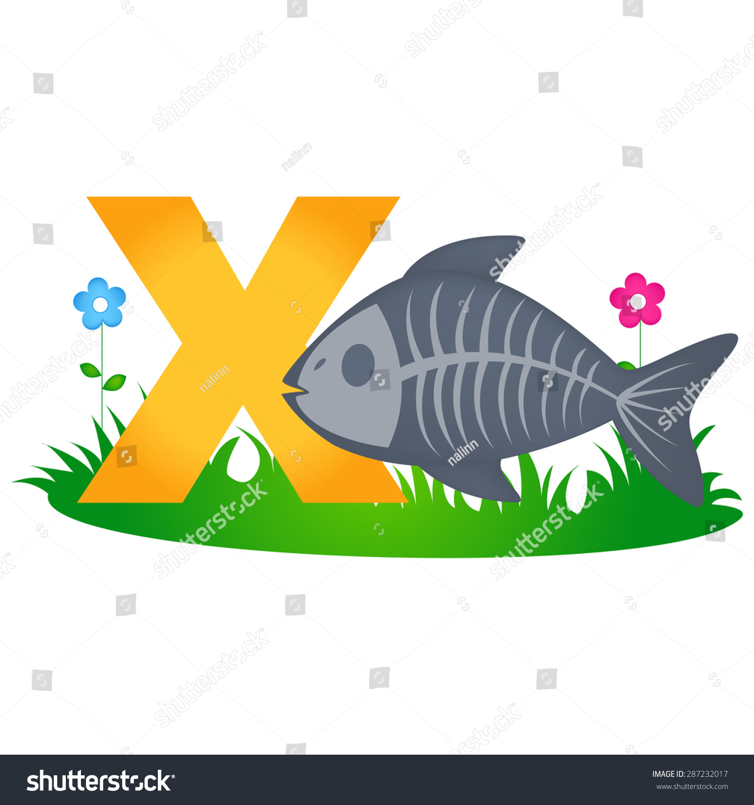 Colorful Animal Alphabet Letter X Cute Stock Vector