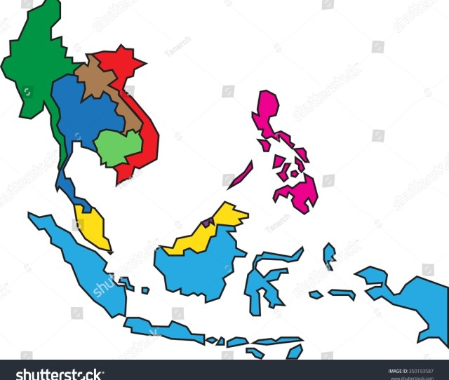 Colorful Asean Map On White Background Miscellaneous Stock Image