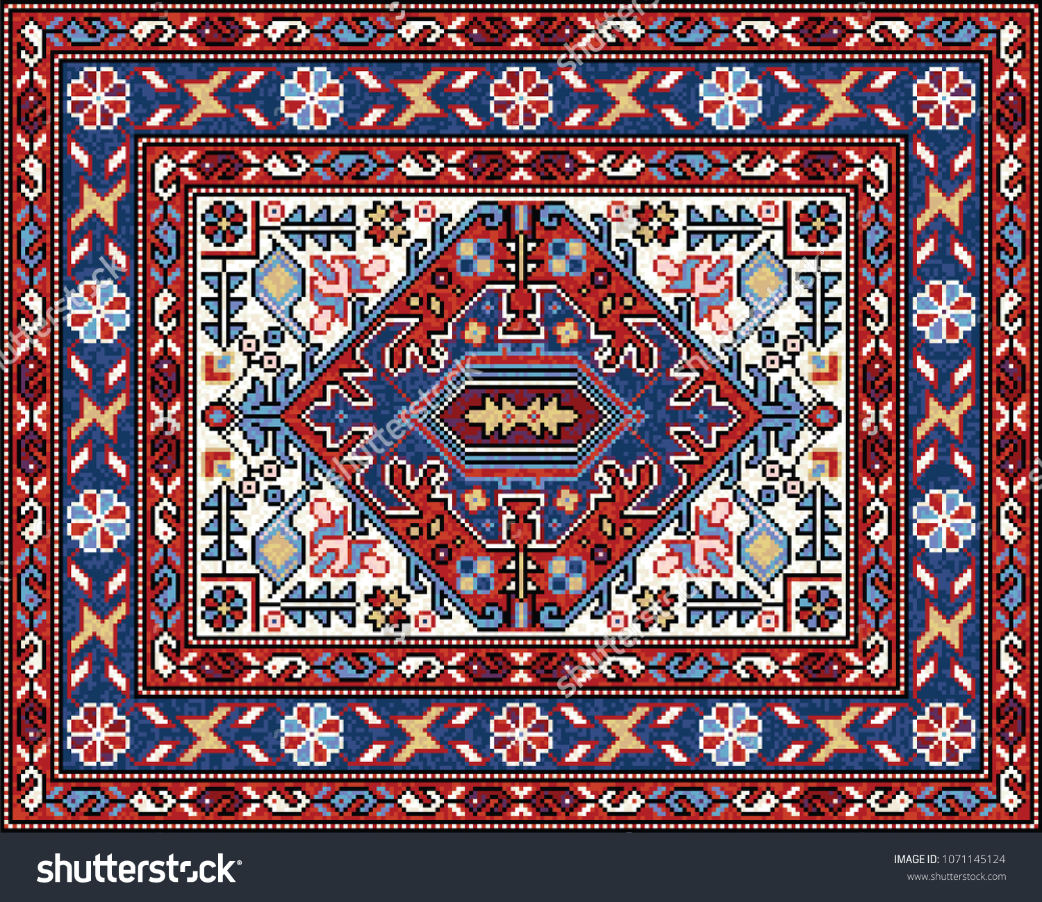 Colorful Mosaic Oriental Rug Traditional Folk Stock Vector