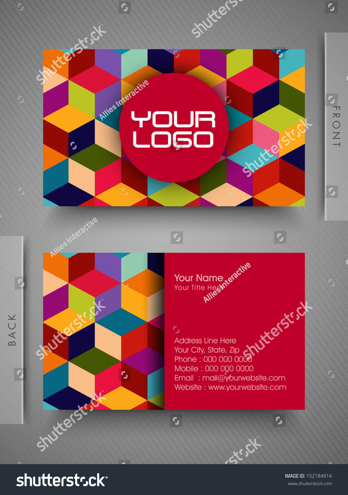 Colorful Professional Designer Business Card Set Stock