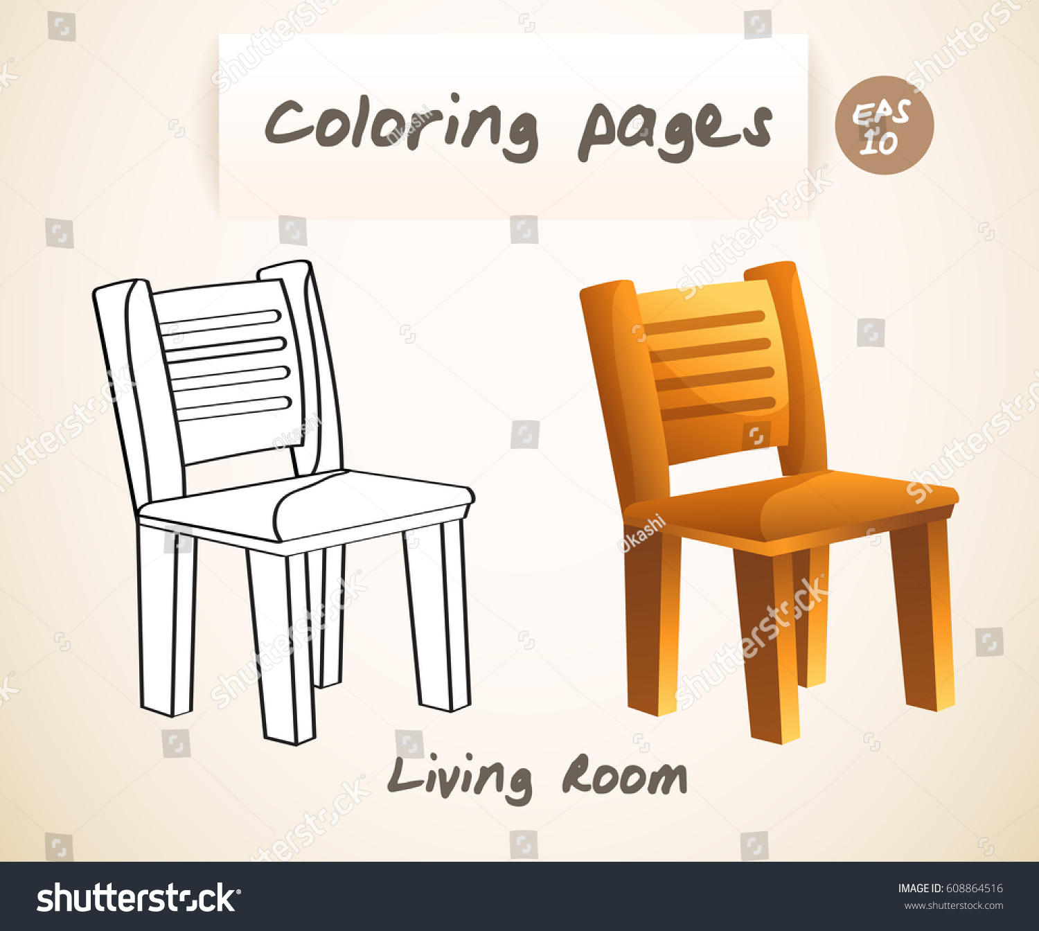 Coloring Book Pages Kids Living Room Stock Vector