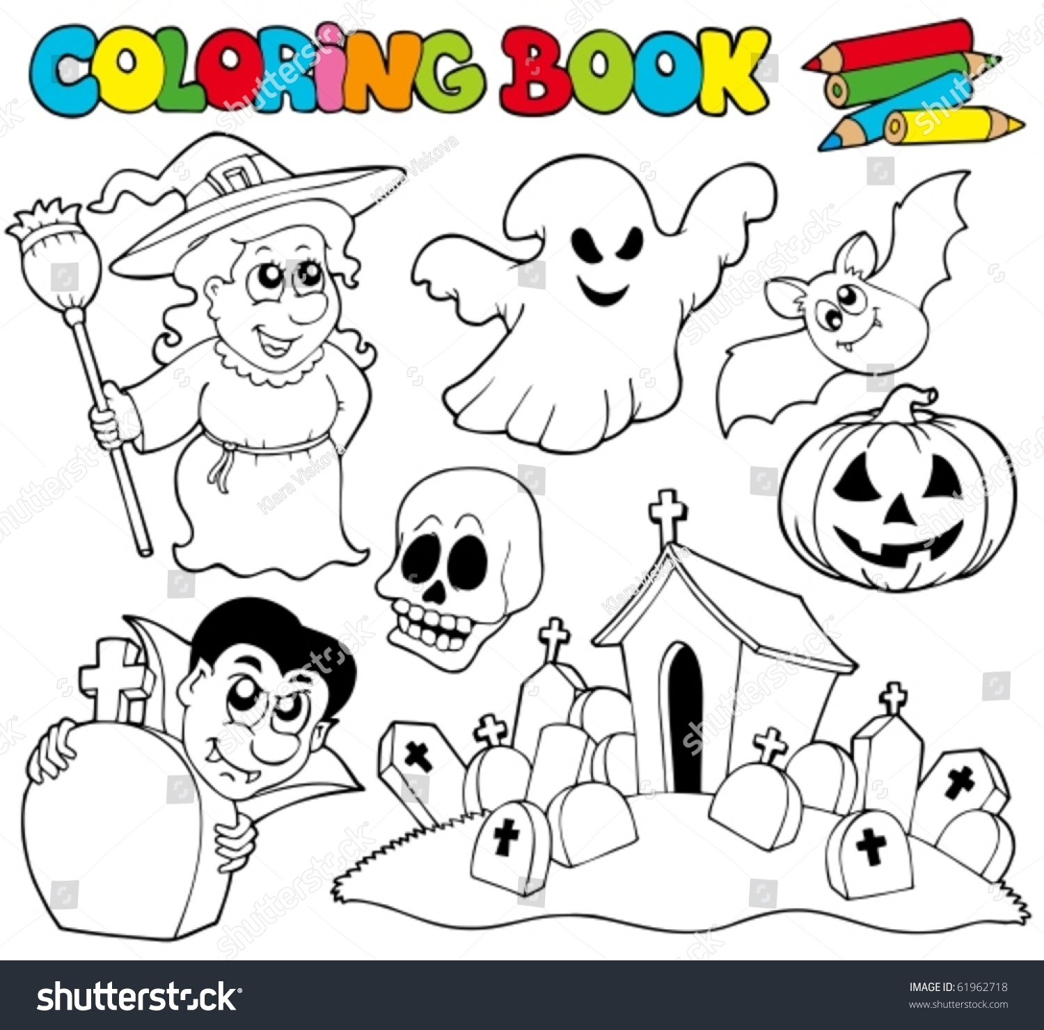 coloring book with halloween theme vector illustration 61962718