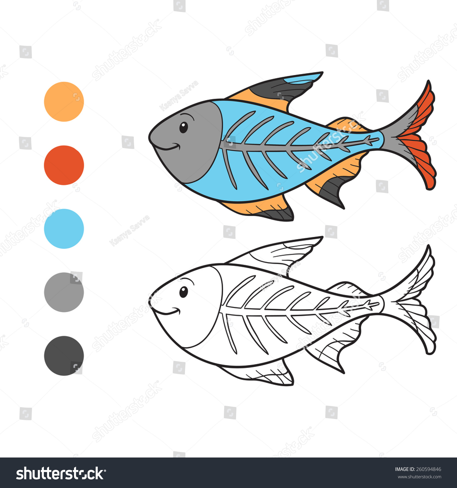 Coloring Book Xray Fish Stock Vector