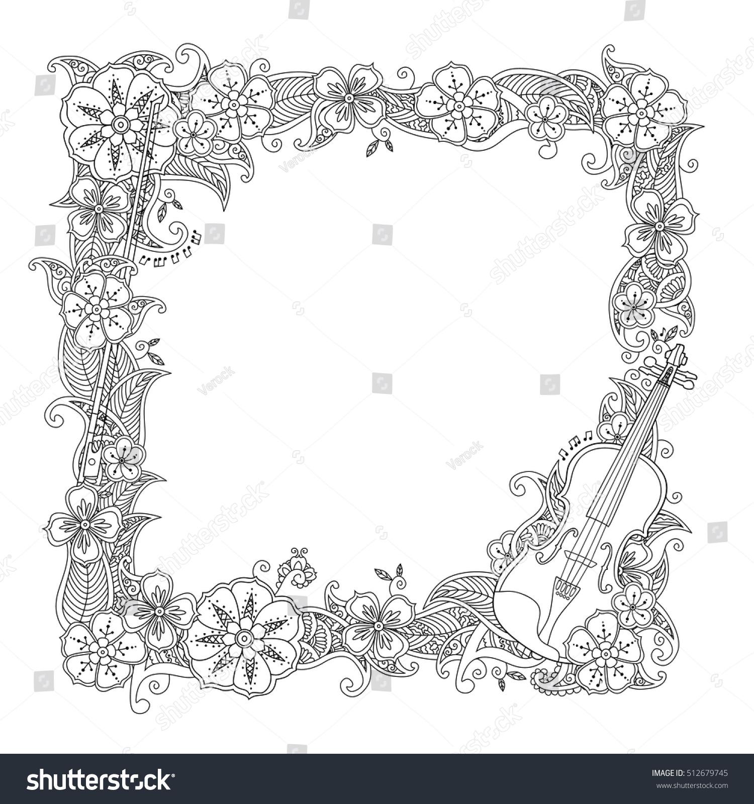 Coloring Page Border Square Frame Violin Stock Vector 512679745