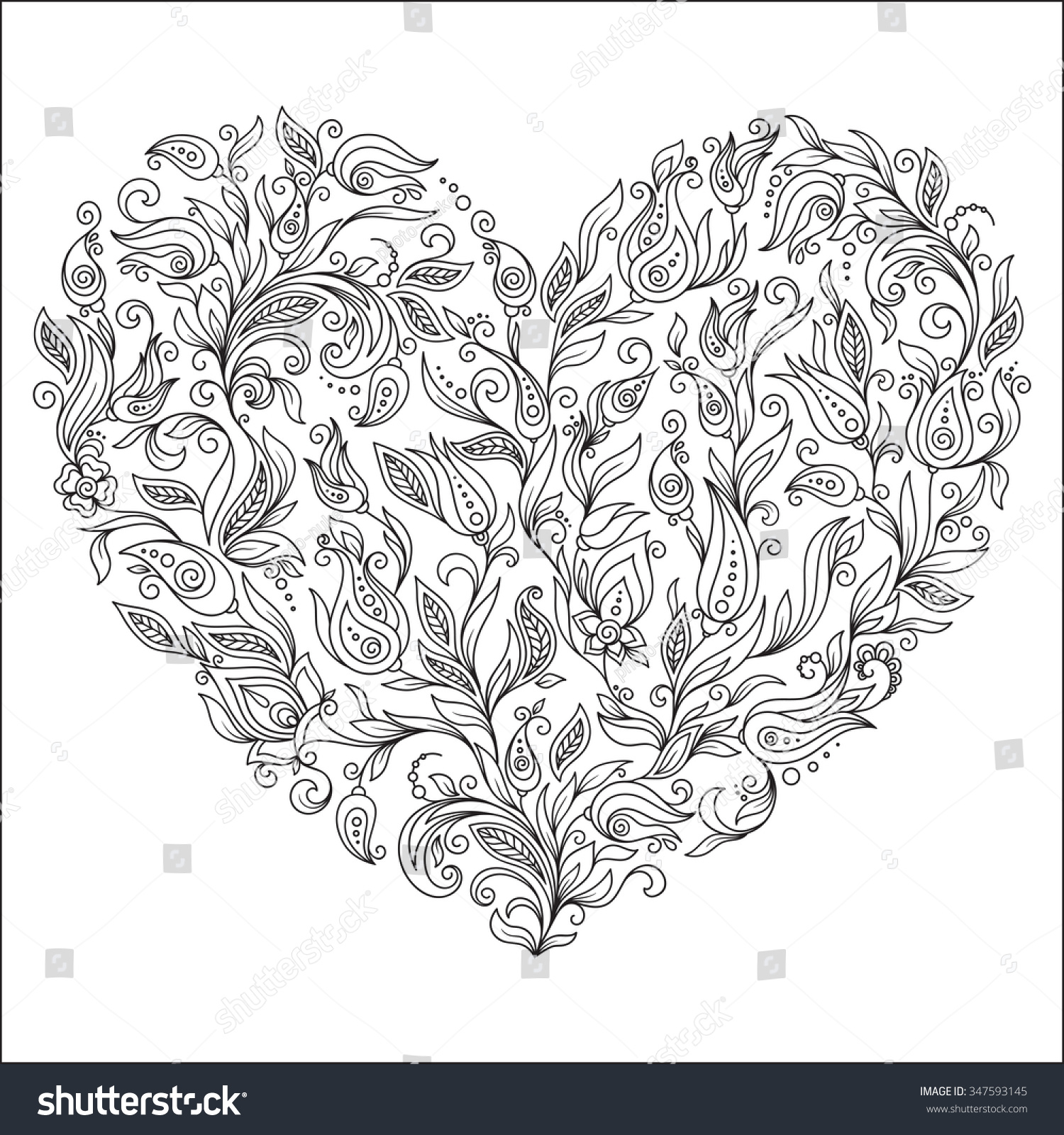 Coloring Page Flower Heart St Valentines Stock Vector
