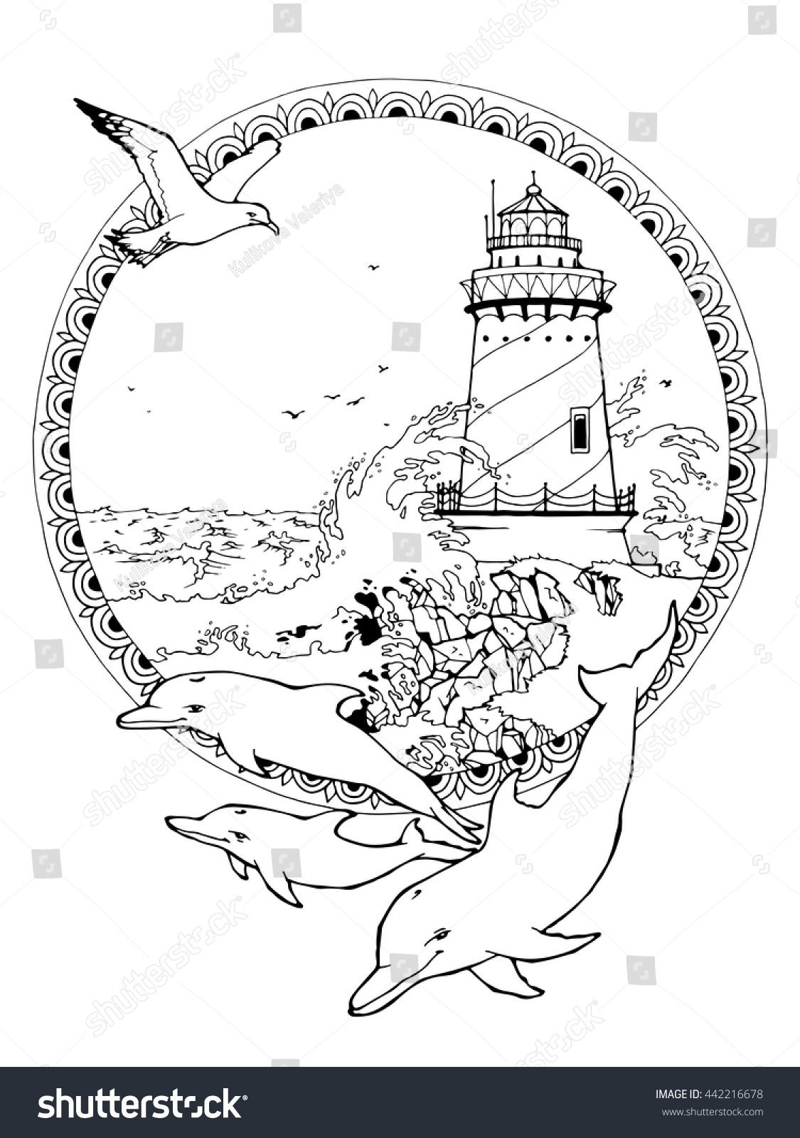 Coloring Page Adults Lighthouse Seagulls Dolphins Stock