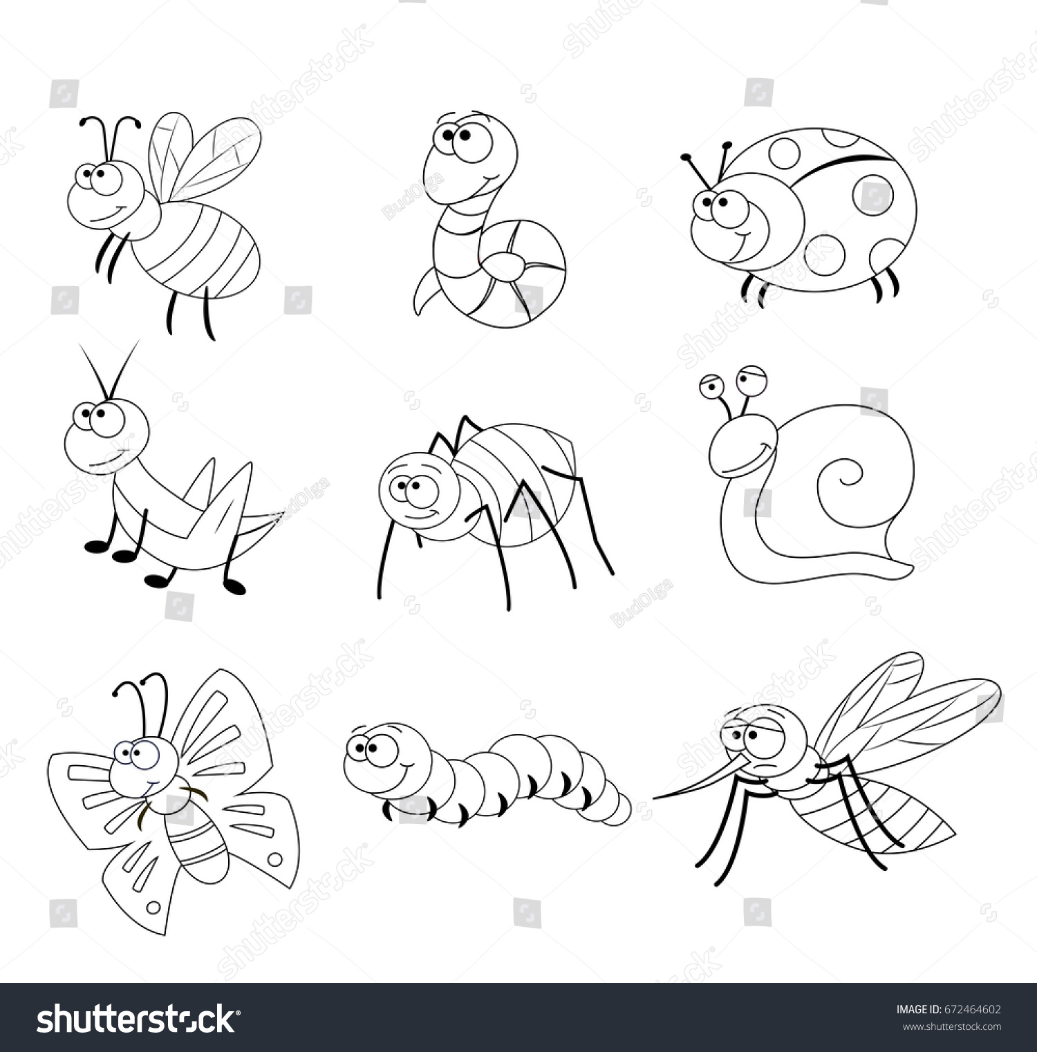 Preschool Bug Coloring Worksheet
