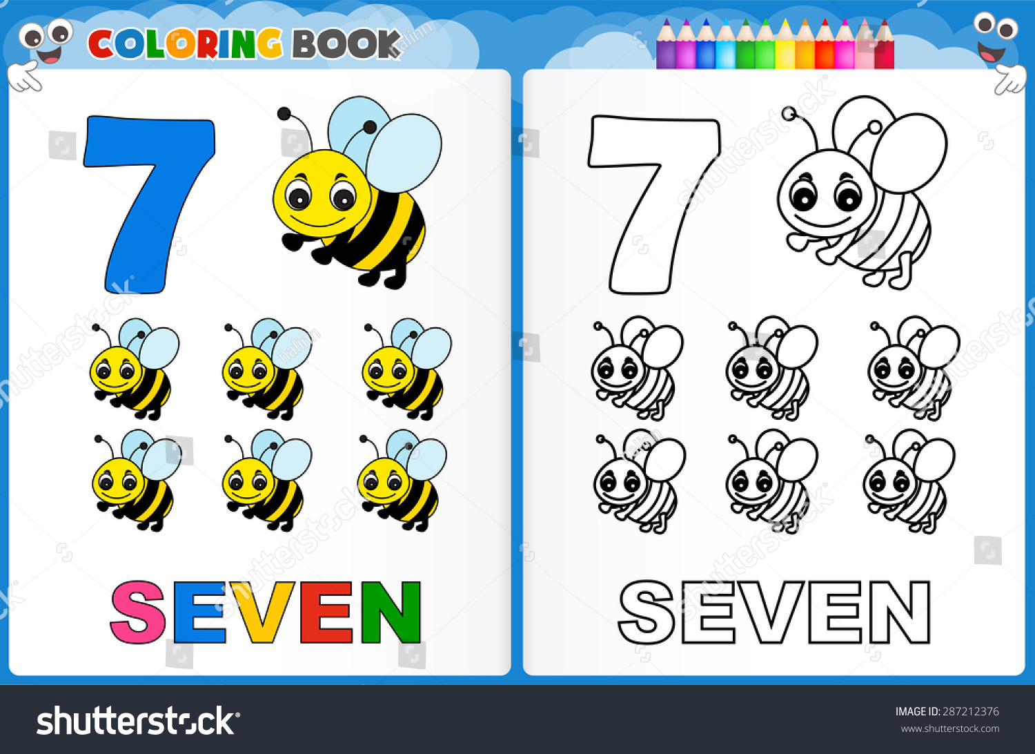 Coloring Page Number Seven Colorful Sample Stock Vector