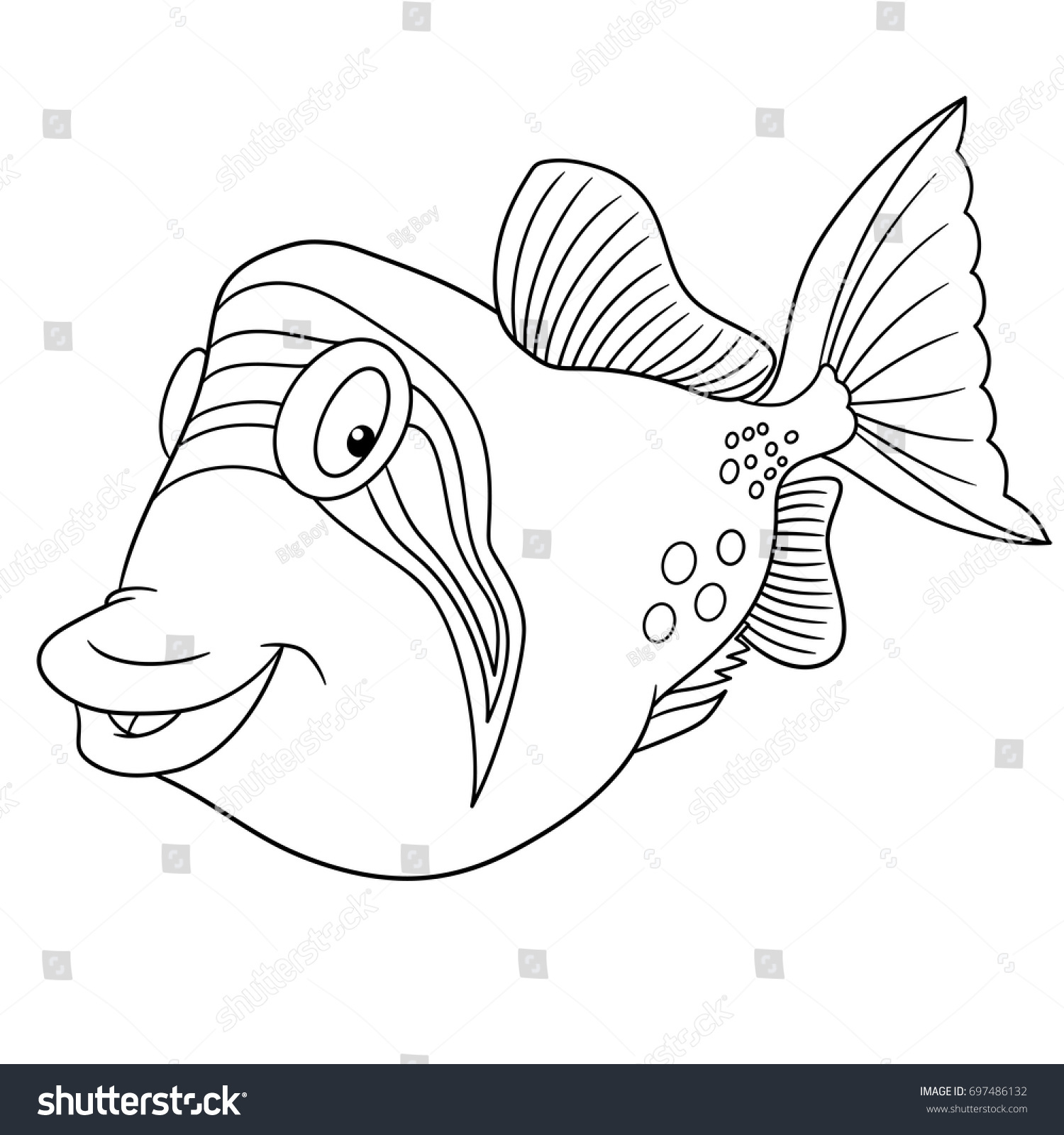 Coloring Page Cartoon Triggerfish Trigger Fish Stock Vector