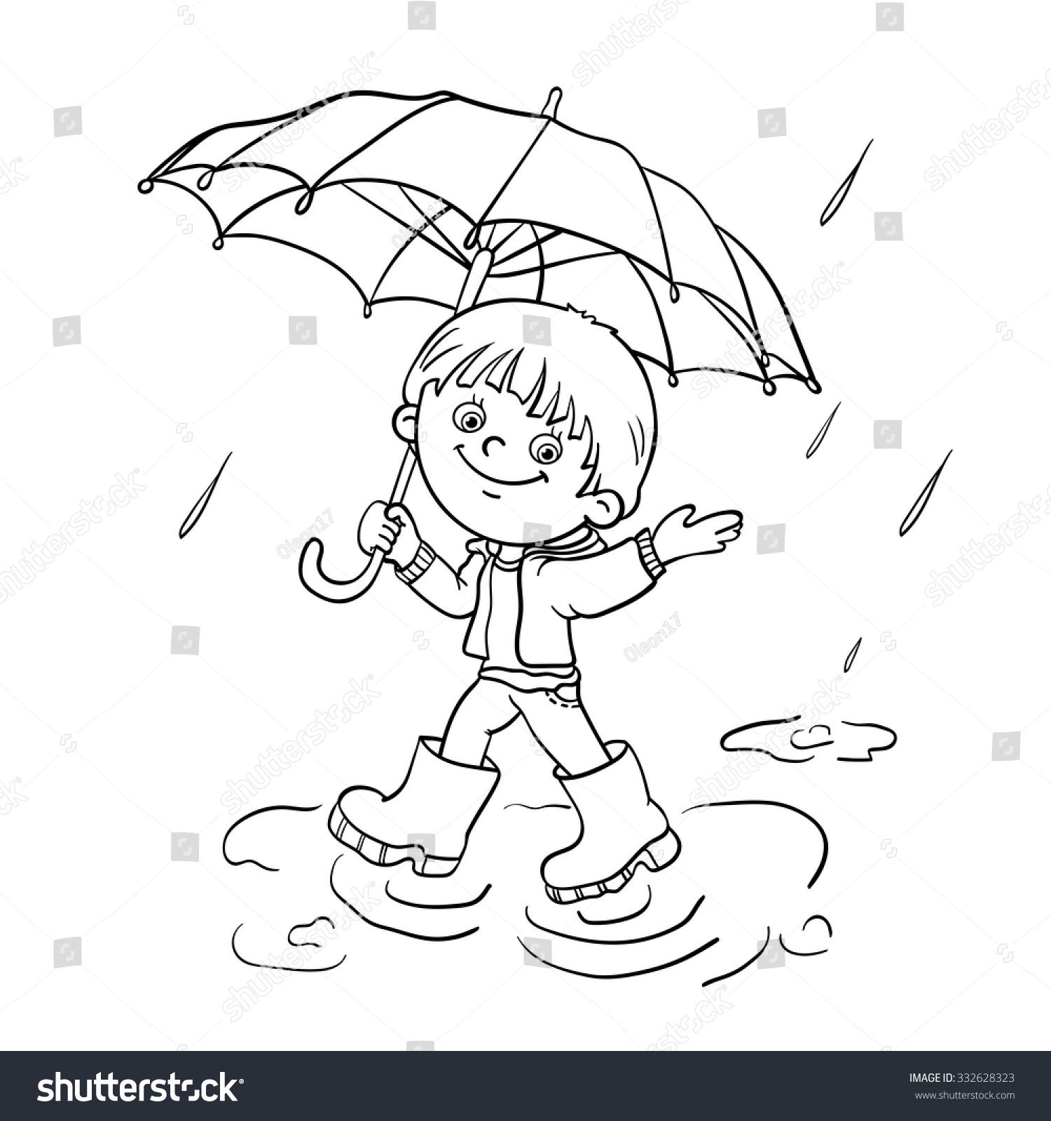 Coloring Page Outline Cartoon Joyful Boy Stock Vector