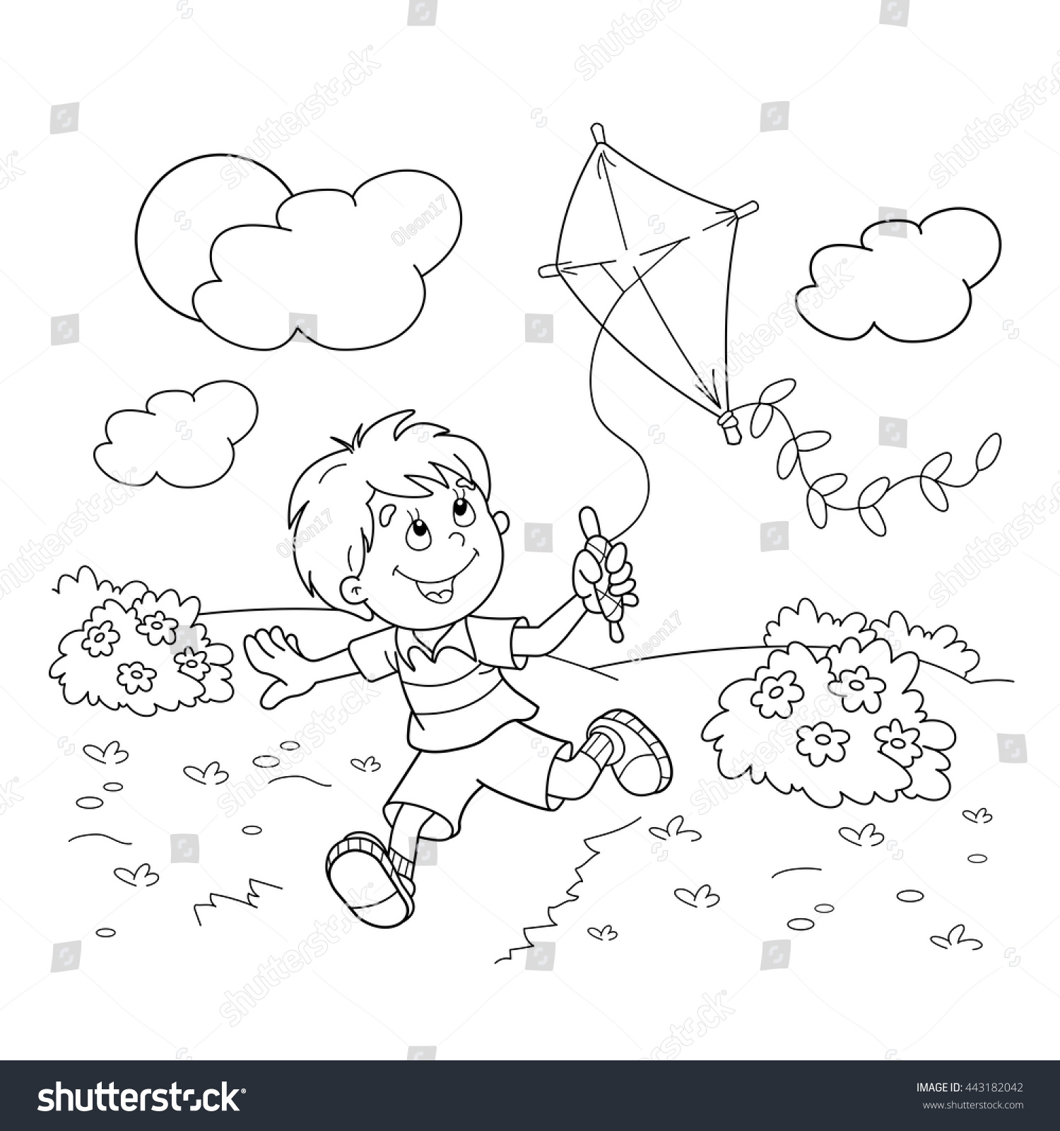 Coloring Page Outline Cartoon Boy Running Stock Vector 443182042