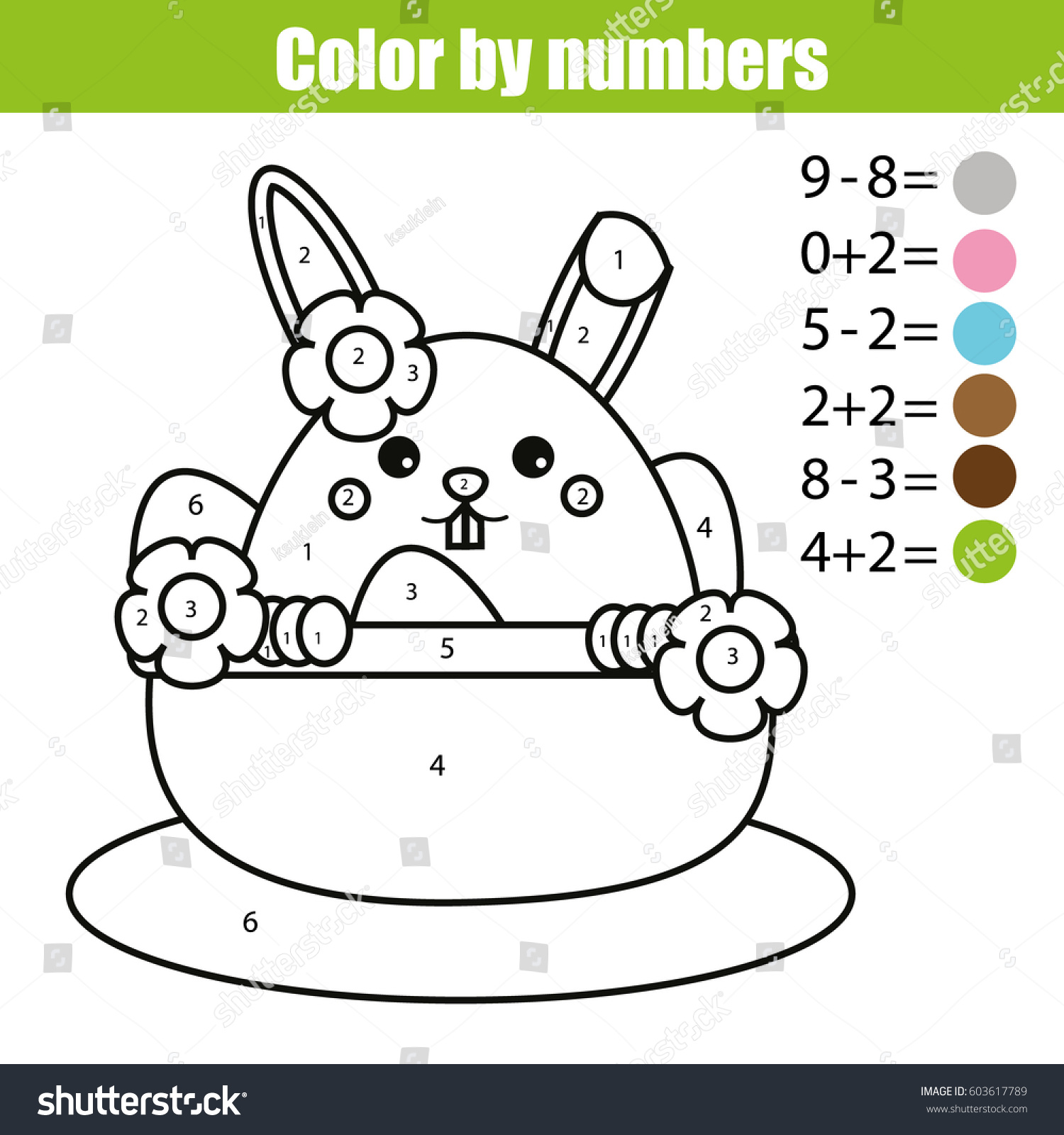 Coloring Page Easter Bunny Character Color Stock Vector